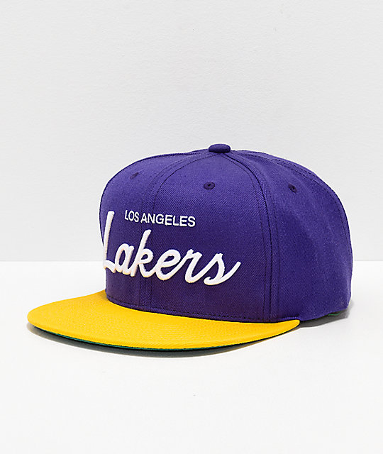 05f70f0a318f9b Mitchell & Ness Lakers Purple & Gold Snapback Hat   Zumiez