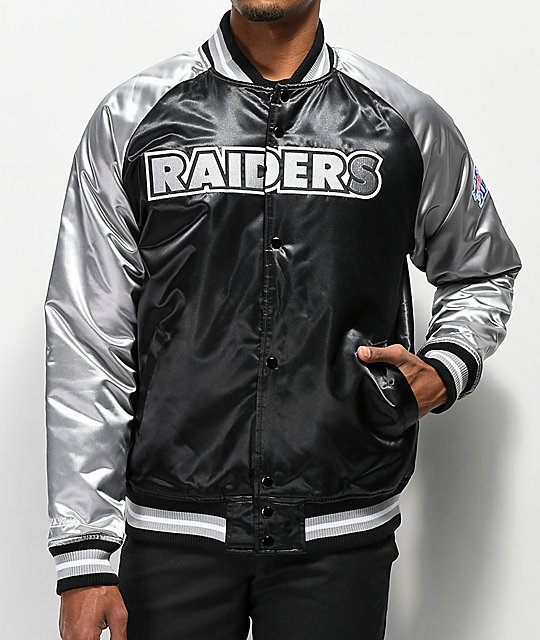4b6815e824b Mitchell & Ness Raiders Black Varsity Jacket   Zumiez