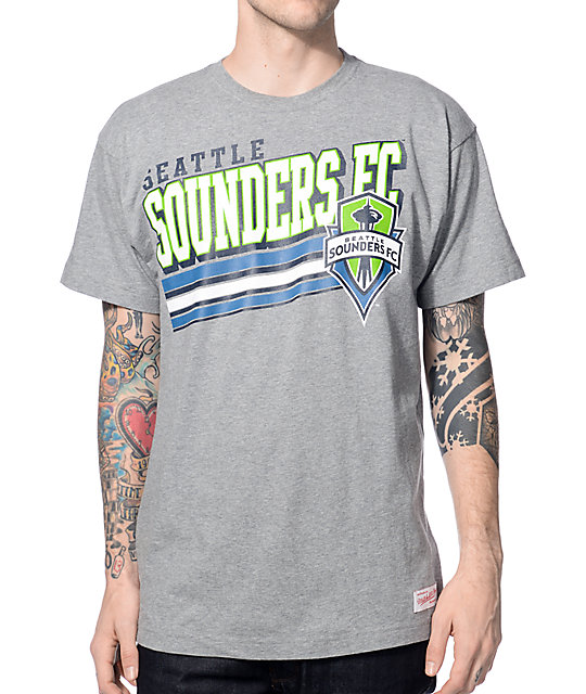 huge selection of f83f0 b91eb Mitchell & Ness Seattle Sounders Bold Block Heather Grey T-Shirt