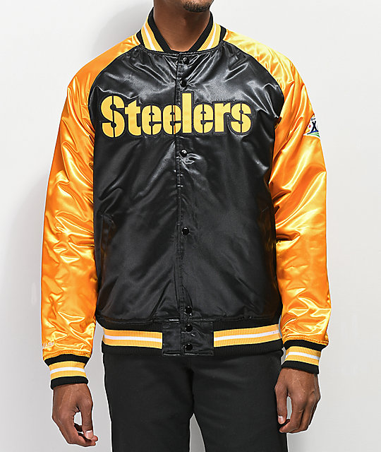 brand new aeb8f 8ec20 Mitchell & Ness Steelers Black Varsity Jacket