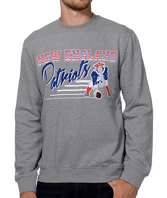 pretty nice 9a35e 6d62d Mitchell and Ness New England Patriots Training Room Grey Crew Neck  Sweatshirt