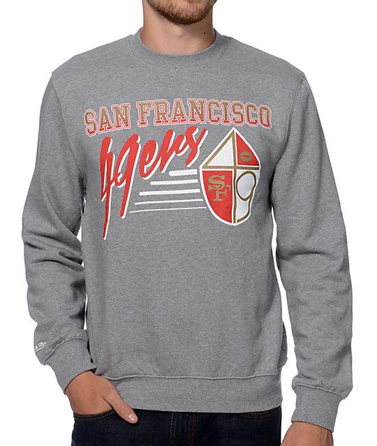 more photos 0c1e7 94990 Mitchell and Ness San Francisco 49ers Training Room Grey Crew Neck  Sweatshirt