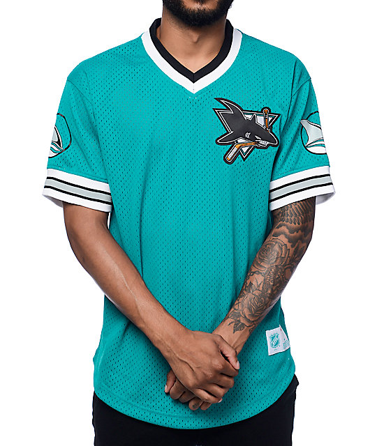 official photos 54526 44207 Mitchelll & Ness San Jose Sharks Teal Mesh V Neck Jersey