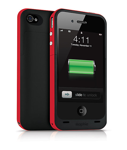 competitive price 06a89 66683 Mophie Juice Pack Plus iPhone 4 & 4s Black & Red Charge Case