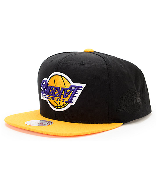991053875c8 NBA Hall Of Fame x Mitchell and Ness Upside Down Lakers Black Snapback Hat