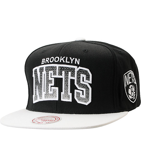 best service 4bf01 a3148 NBA Mitchell and Ness Brooklyn Nets Gradient Arch Black Snapback Hat    Zumiez