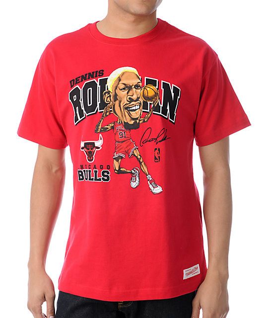 reputable site 395dd fc64d NBA Mitchell and Ness Bulls Dennis Rodman Caricature Red T ...