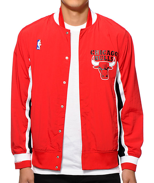buy popular 9f4c7 253c5 NBA Mitchell and Ness Bulls Warmup Jacket   Zumiez