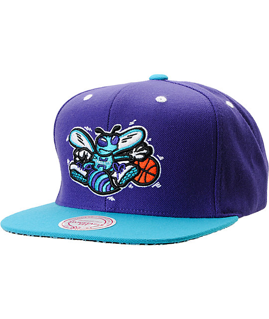 e11374b624667 NBA Mitchell and Ness Charlotte Hornets Crackle Snapback Hat   Zumiez