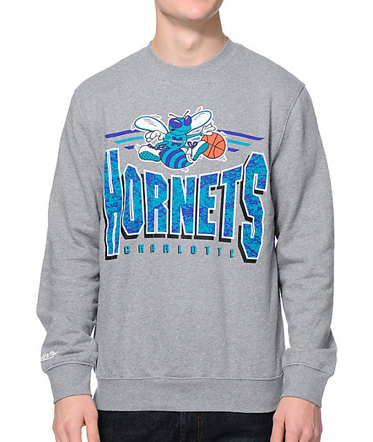 new product 7b5e6 56268 NBA Mitchell and Ness Charlotte Hornets Grey Crew Neck Sweatshirt
