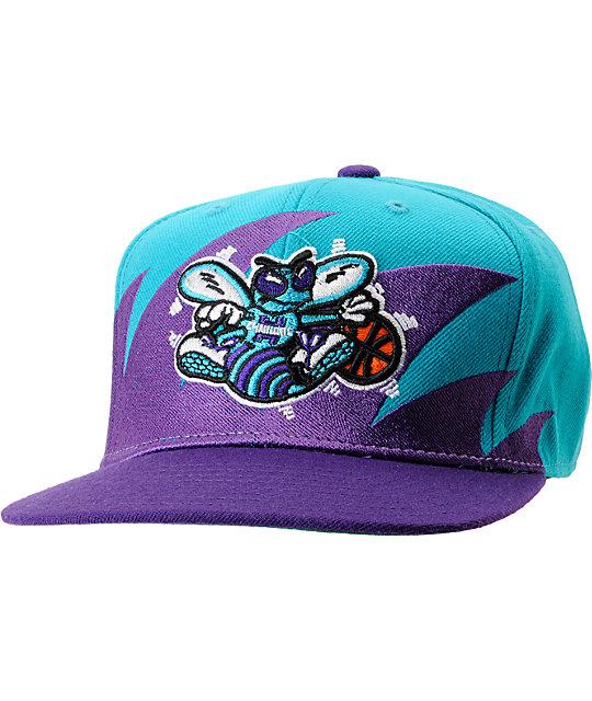c3d294e940c2e NBA Mitchell and Ness Charlotte Hornets Sharktooth Snapback Hat   Zumiez