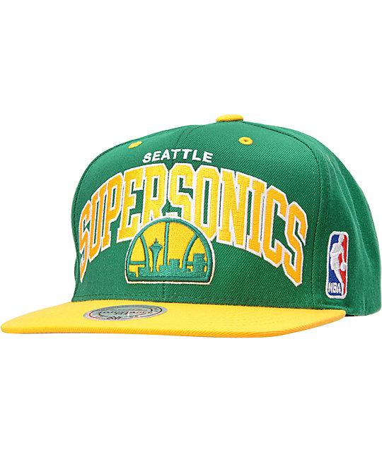 9ce43cd2 NBA Mitchell and Ness Seattle Sonics Arch Snapback Hat   Zumiez