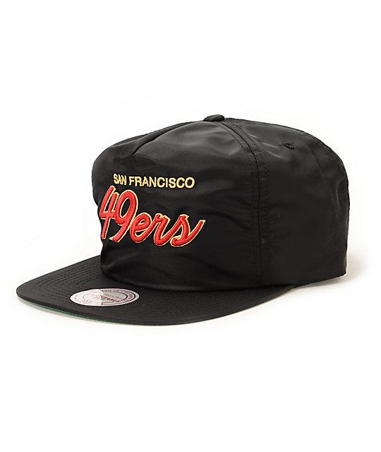 new concept 3fad3 3f1d6 NFL Mitchell & Ness 49ers Script Black Nylon Strapback Hat