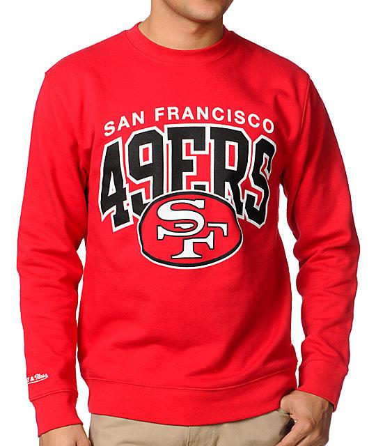ebbfbb226b155 NFL Mitchell & Ness San Francisco 49ers Red Crew Neck Sweatshirt | Zumiez