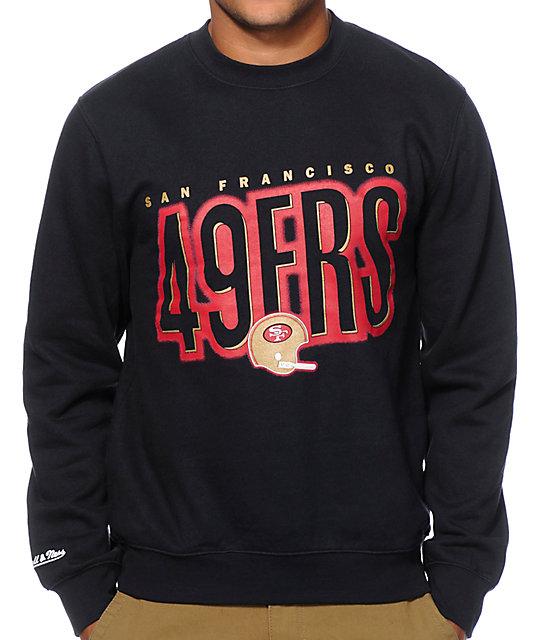 262fa0ec9c4af NFL Mitchell and Ness 49ers Retro Blur Crew Neck Sweatshirt | Zumiez