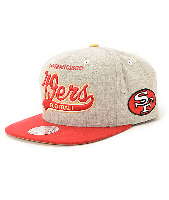 new style 92ad4 ddb84 NFL Mitchell and Ness 49ers Tailsweeper Melton Strapback Hat