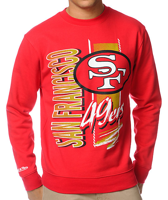 4b445854263a7 NFL Mitchell and Ness 49ers Zip Zag Red Crew Neck Sweatshirt | Zumiez