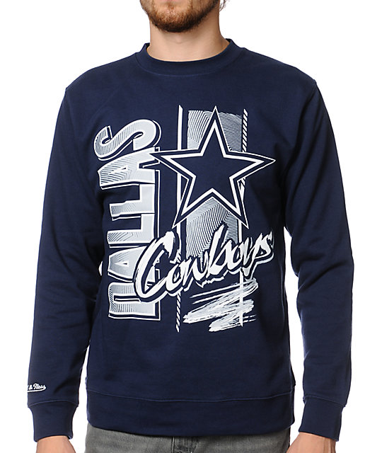 sports shoes 0d8c9 ebded NFL Mitchell and Ness Cowboys Zip Zag Navy Crew Neck Sweatshirt