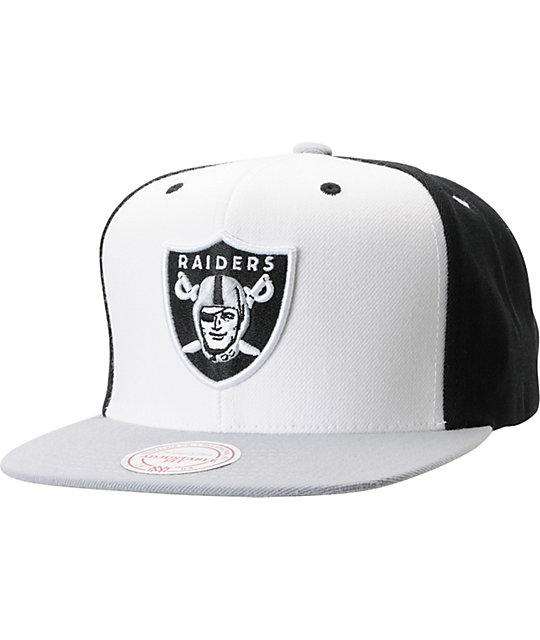 f073b74c78833c NFL Mitchell and Ness Oakland Raiders Black And White Snapback Hat | Zumiez