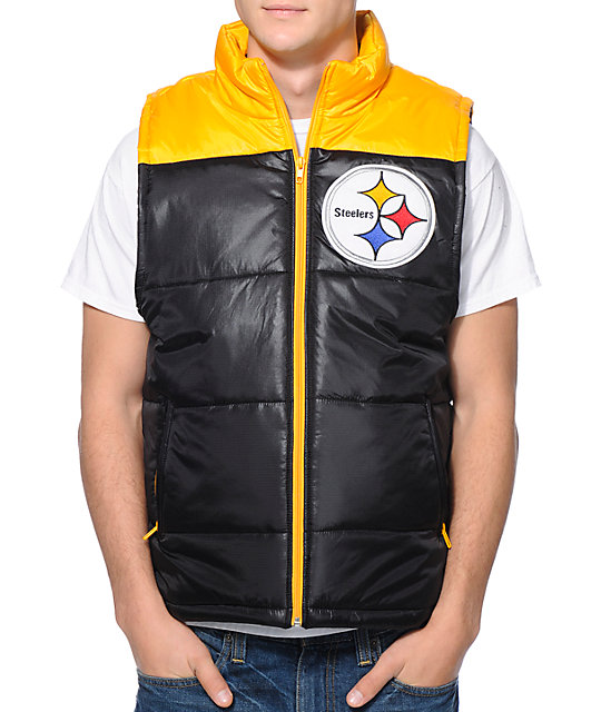 buy popular df899 ea63d NFL Mitchell and Ness Pittsburgh Steelers Black Vest