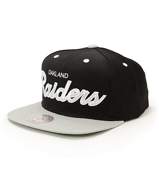 NFL Mitchell and Ness Raiders 2 Tone Script Snapback Hat