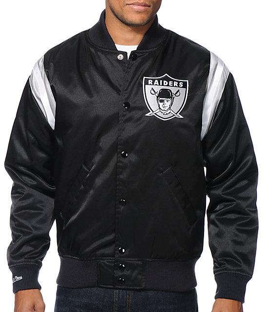 b796ba46fd7 NFL Mitchell and Ness Raiders Division Black Satin Jacket   Zumiez