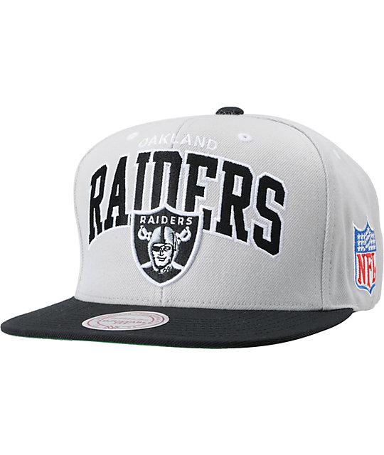 e52708e8 NFL Mitchell and Ness Raiders Grey Arch Logo Snapback Hat | Zumiez