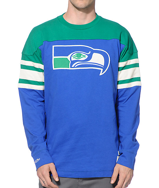best website 89b85 9d005 NFL Mitchell and Ness Seahawks Pump Fake Knit Jersey