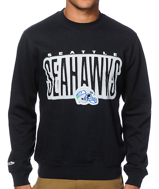 cheaper 0537a 626f8 NFL Mitchell and Ness Seahawks Retro Blur Crew Neck Sweatshirt