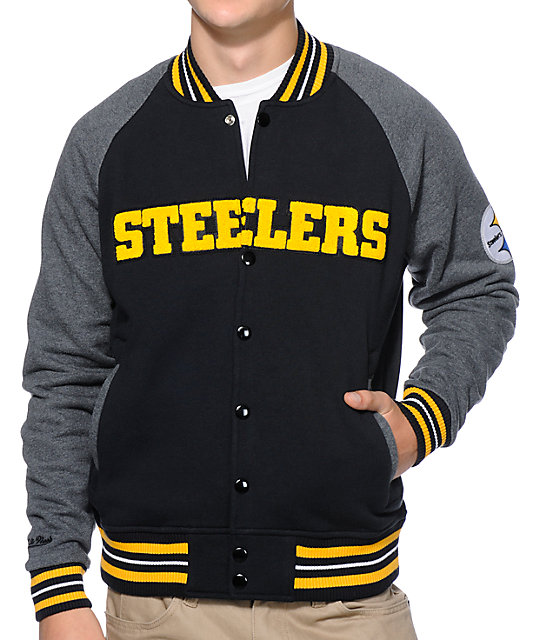 huge selection of 26821 77916 NFL Mitchell and Ness Steelers Backward Pass Black Jacket