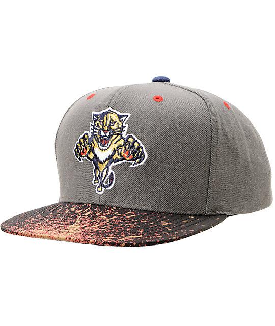 529be5439 NHL Mitchell and Ness Panthers Grey Splatter Snapback Hat