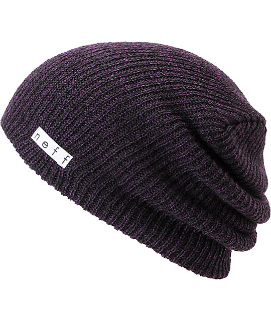 5c401272d3196 Neff Daily Black & Purple Heather Beanie   Zumiez