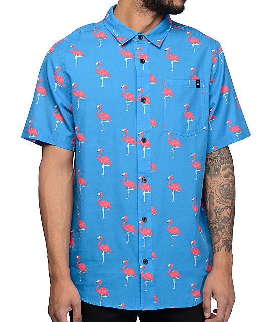 ff431d62 Neff Facets Flamingo Blue Short Sleeve Button Up Shirt   Zumiez
