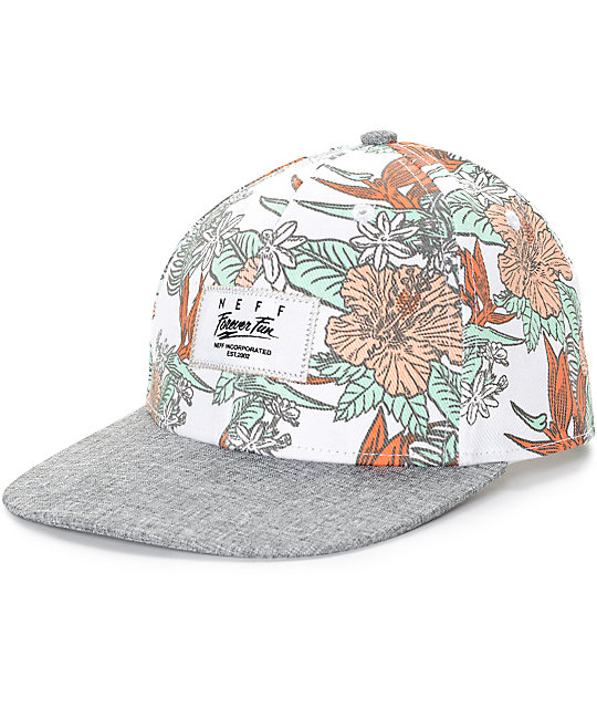 Neff Sprung White Floral Baseball Hat  a911886f7c1