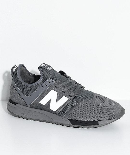 brand new 46d52 47c02 New Balance Lifestyle 247 Classic Grey & Black Mesh Shoes