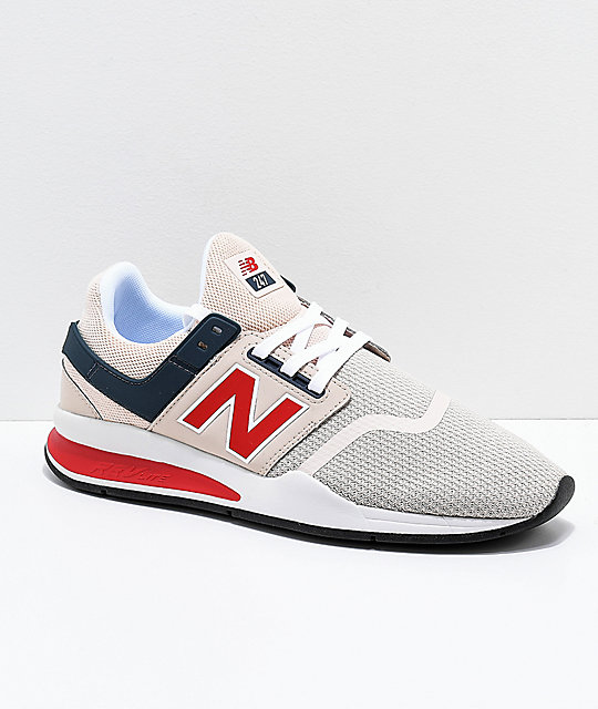 bc59a56fb4104 New Balance Lifestyle 247 Grey, White & Red Shoes | Zumiez