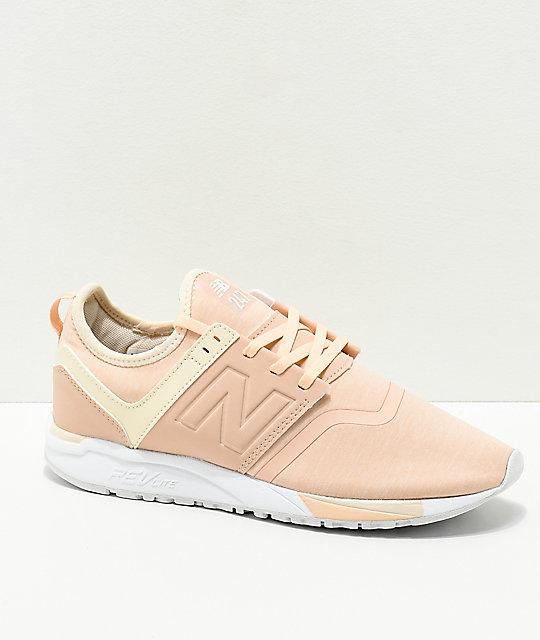 40e821ee2524e New Balance Lifestyle 247 Pink & Cream Textile Shoes | Zumiez