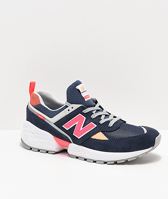 on sale b18bb 2d8ee New Balance Lifestyle 574 Sport Navy & Guava Shoes