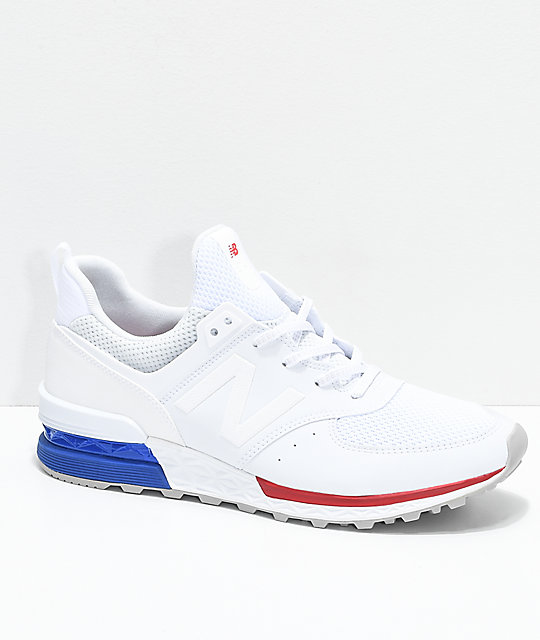 online retailer 1e63e 3f8d8 New Balance Lifestyle 574 Sport White, Blue & Red Shoes