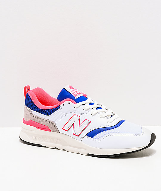 buy popular c391b 1cd9e New Balance Lifestyle Men s 997H White, Lazer Blue   Pink Shoes ...