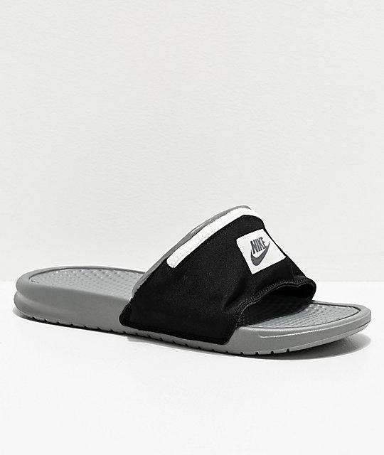 meilleure sélection 882de 1ea17 Nike Benassi Fanny Pack Black & Grey Slide Sandals
