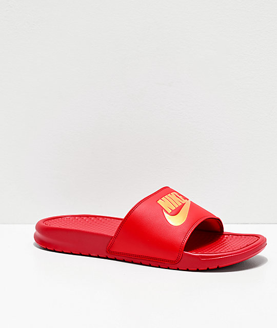 100% authentic eb50d 32b72 Nike Benassi Red & Gold Slide Sandals