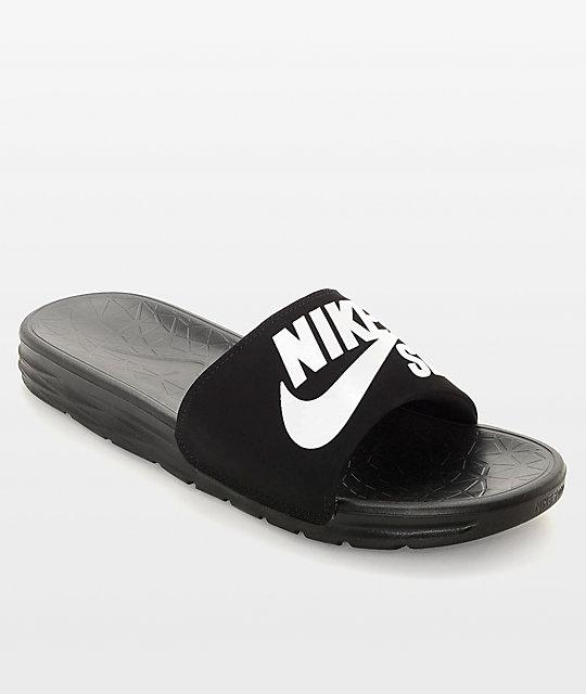 eaa0e20ed Nike SB Benassi SolarSoft Black & White Slides | Zumiez