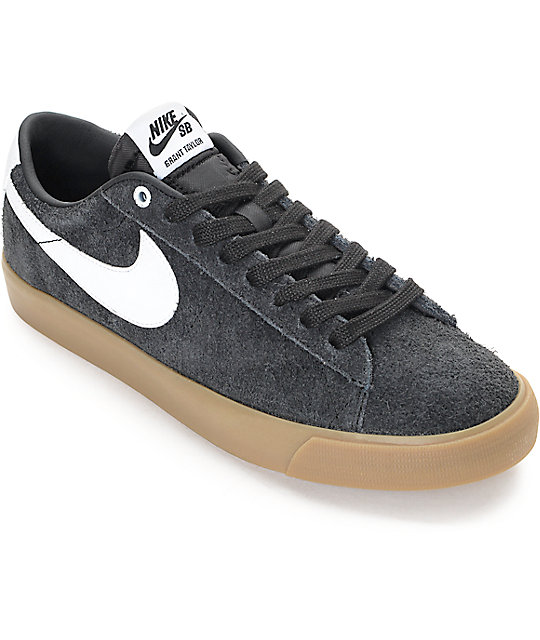 best service ddcb8 9e51c Nike SB Blazer Low GT Black & Gum Suede Skate Shoes