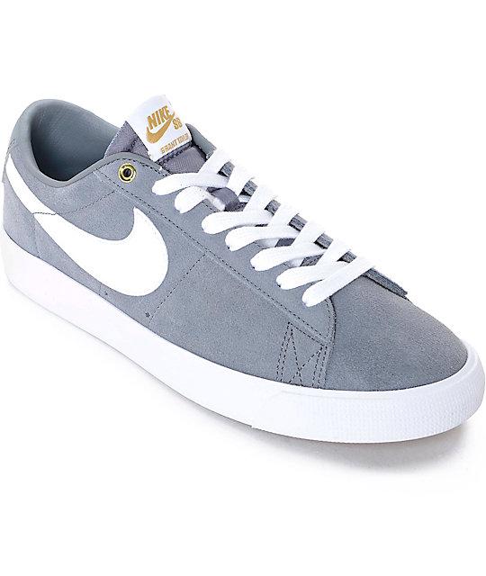 newest 3b165 0e5c5 Nike SB Blazer Low GT Grey & White Skate Shoes