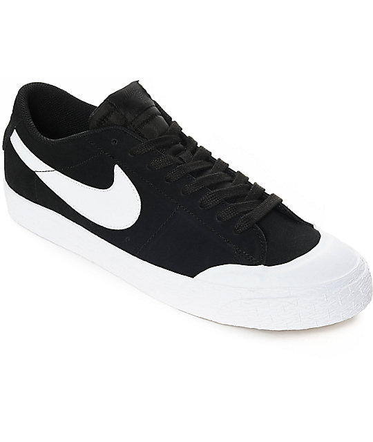 new style 9512a 13fd3 Nike SB Blazer XT Low Black & White Suede Skate Shoes