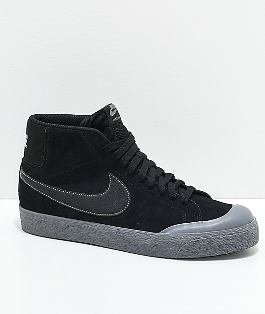 sports shoes e3724 78ca1 Nike SB Blazer XT Mid Black & Pewter Skate Shoes