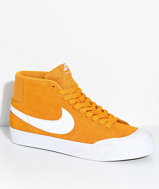 new concept 5fa8f cc5a3 Nike SB Blazer XT Mid Orange & White Skate Shoes