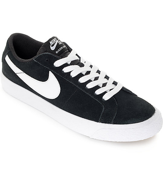 best website a0676 ca356 Nike SB Blazer Zoom Black & White Suede Skate Shoes