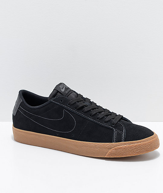 more photos ec8ab 91429 Nike SB Blazer Zoom Low Black & Gum Skate Shoes